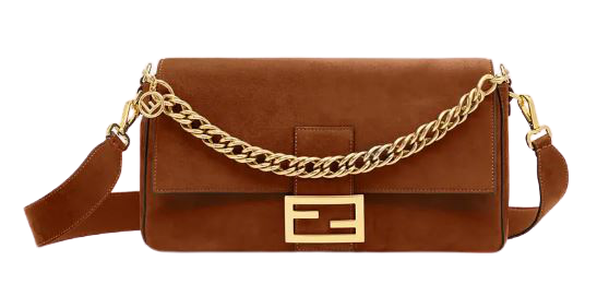 Fendi Brown Suede Gold Chain Crossbody