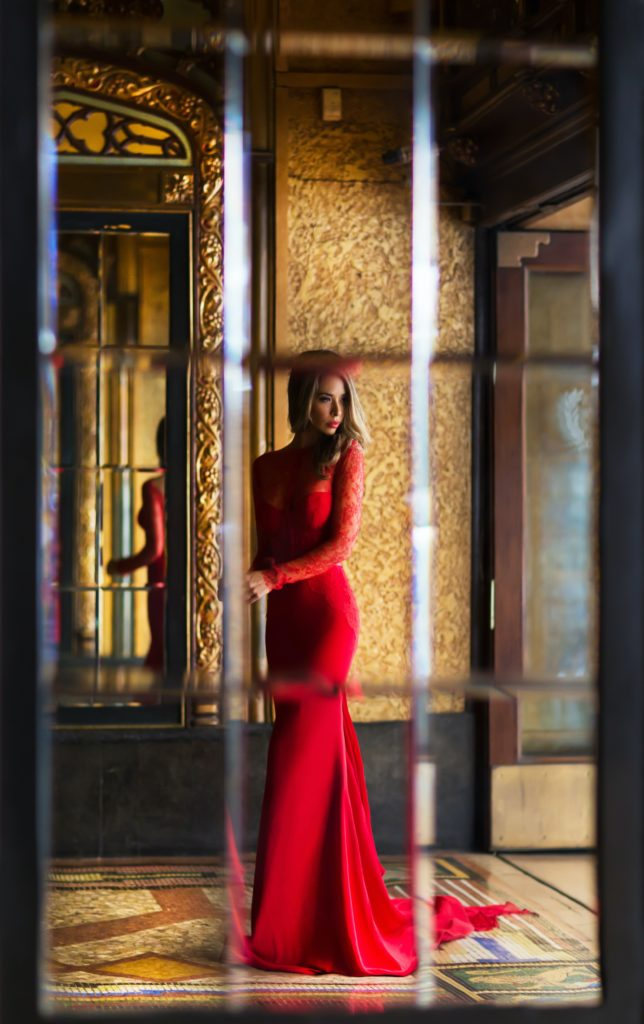 romantic dinner woman in red
