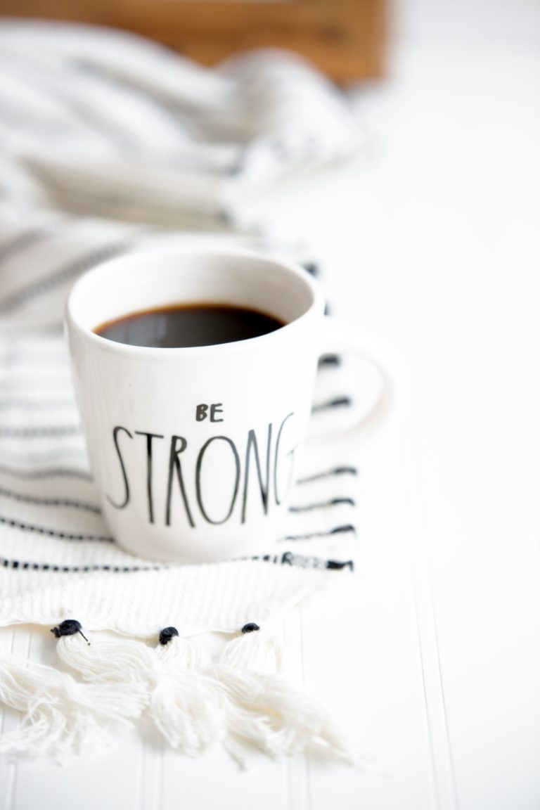 strength coffee cup white