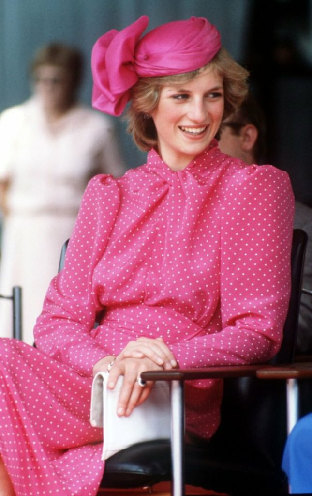 princess diana pink dress hat
