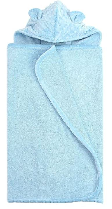 blue bath towel for baby