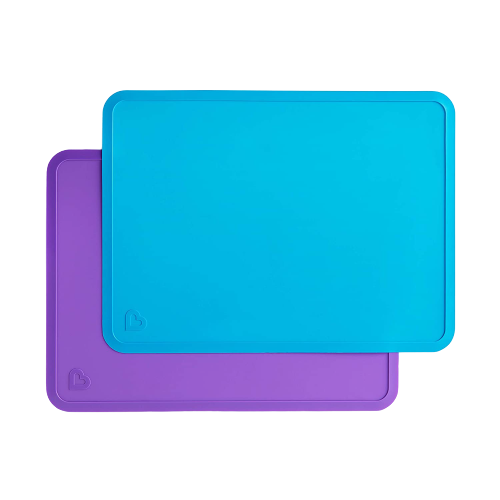 Silicone Placemats for Kids, 2 Pack, Blue/Purple