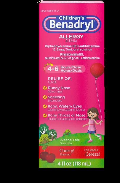 Children's Benadryl Allergy Liquid Medicine with Diphenhydramine HCl, Cherry