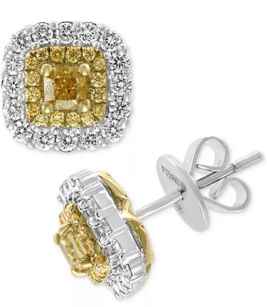 Diamond halo stud earrings yellow diamonds