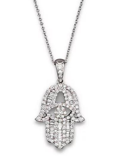 diamond and baguette hamsa necklace
