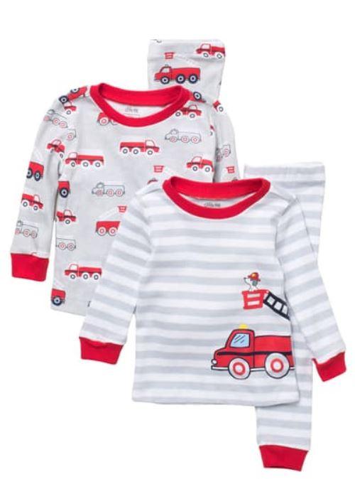 little me firetruck print 4-piece pajama set babies kids