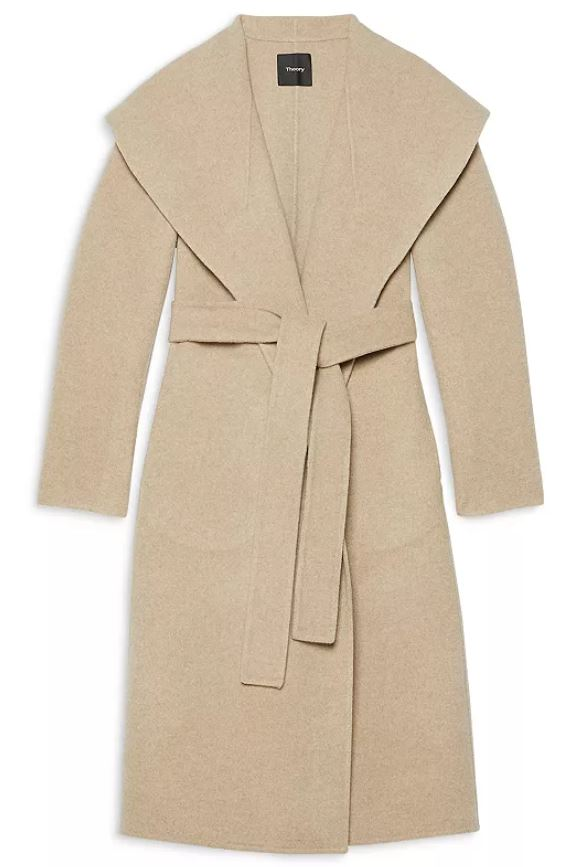 Theory Gray Oat Color Wool and Cashmere Collar Coat