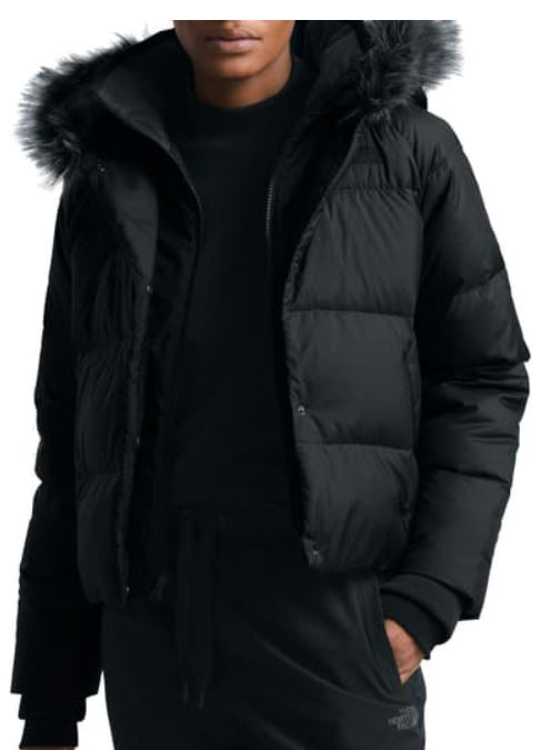 north face quilted fur trim crop jacket