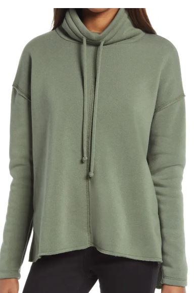 cowl tie neck cotton blend sweatshirt