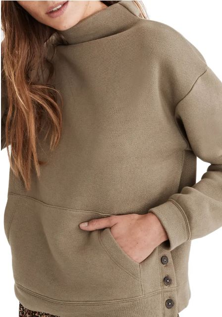 resourced cotton mock neck side button sweatshirt