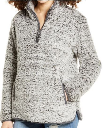 Thread and supply fleece pullover zipper