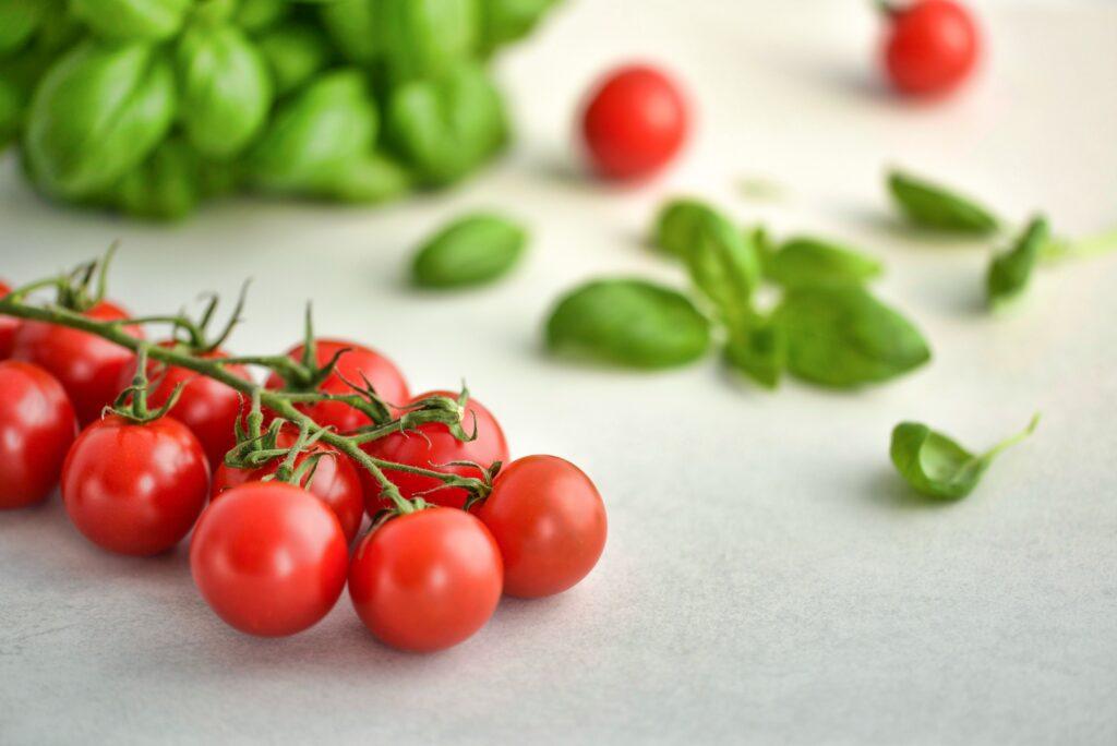 cherry tomatoes and basil vegan pasta